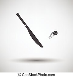 Cricket bat icon on gray background, round shadow. Vector...
