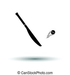 Cricket bat icon. White background with shadow design....