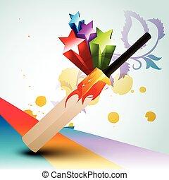 cricket bat - vector abstract cricket bat design