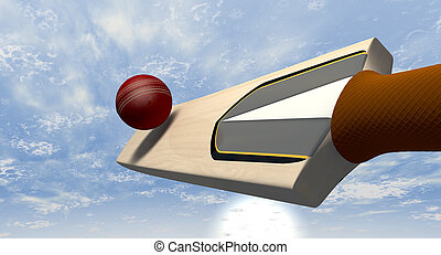 Cricket Bat Striking Ball - A floating cricket bat hitting a...