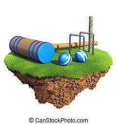 Cricket bat, wicket stumps, bails