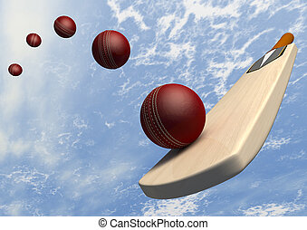 Cricket Bat With Ball Flight Path
