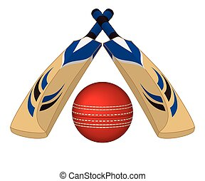 Cricket bats crossed with ball