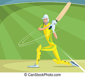 Cricket Batsman - cartoon style cricket batsman in vector