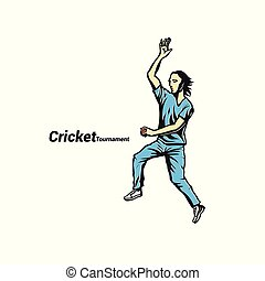 Cricket bowler ready to throw the ball vector illustration....