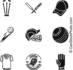Cricket championship icon set, simple style