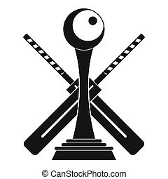 Cricket cup and bat logo, simple style