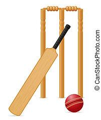 cricket equipment bat ball and wicket illustration