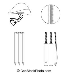 Cricket equipment icons set. Sketch black outlined illustration isolated on white