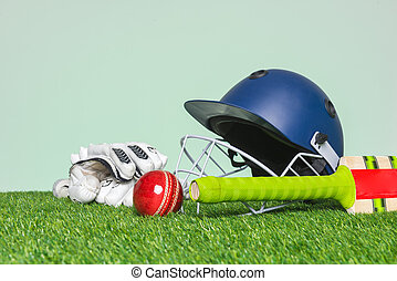 Cricket equipment on grass