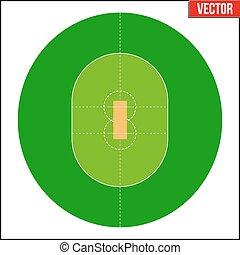 Cricket Field Vector illustration - Cricket Field. Simple...