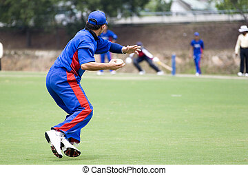 Cricket Game - Cricket game fielder in action.