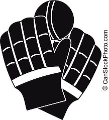 Cricket gloves logo, simple style