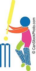 Cricket icon in multicolors illustration