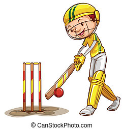 Cricket - Illustration of a man playing cricket