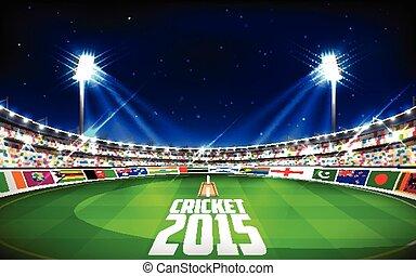 cricket, landen, het tonen, deelnemend, vlaggen, stadion