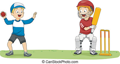 Cricket League Boys - Illustration Featuring Two Little Boys...