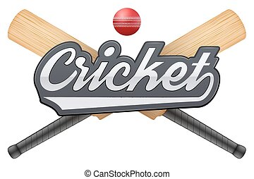 Cricket leather ball and wooden bats. - Vector illustration...