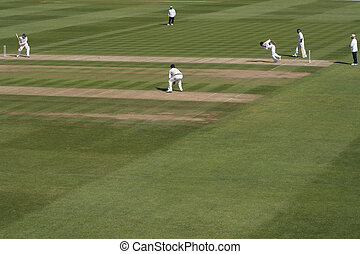 Batsman faces a ball from a fast bowler
