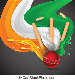 Cricket Match - easy to edit vector illustration of ball and...