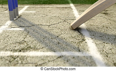 Cricket Pitch Ball And Wickets - A tip of a cricket bat...