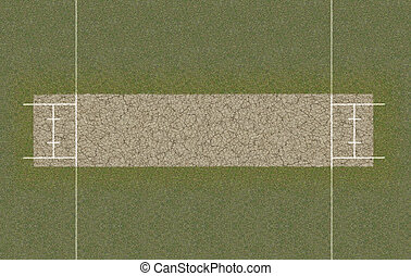 Cricket Pitch Top View - A direct top view of the layout of...