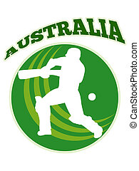 cricket player batsman batting retro Australia -...