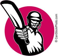 cricket player batsman pointing bat - illustration of a...