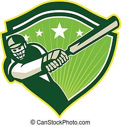 Cricket Player Batsman Star Crest Retro - Illustration of a...