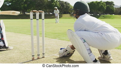 Rear view of a teenage African American male cricket player wearing whites, helmet and gloves, playing wicket keeper position on the pitch during a cricket match, catching a cricket ball and stumping a batsman in slow motion
