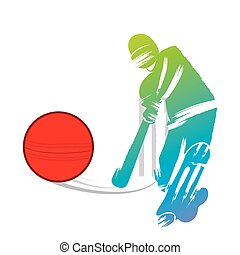 cricket player design by paint brush stroke design vector
