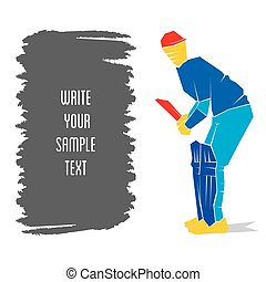 cricket player design - cricket player ready position to hit...