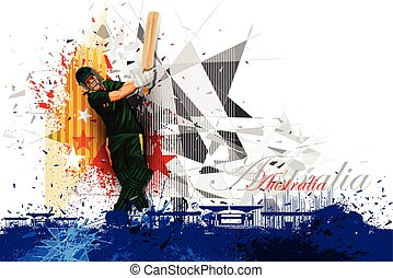Cricket Player from Australia - easy to edit vector...