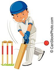 Cricket player hitting ball with bat
