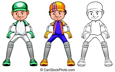 Cricket player in three different drawing styles