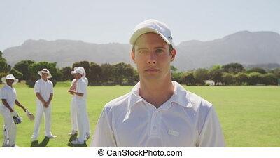 Cricket player looking at the camera