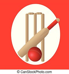 cricket set with red and white background