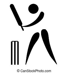 Cricket sign - Black silhouetted cricket sign or symbol; ...