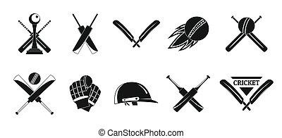 Cricket sport ball logo icons set, simple style