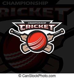 Cricket sports logo, emblem.