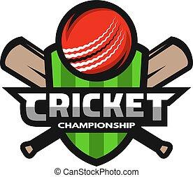 Cricket sports logo, label, badge, emblem.