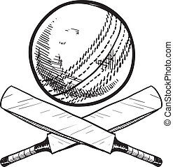 Cricket sports objects sketch
