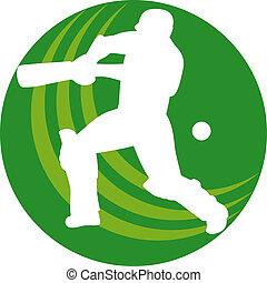 cricket sports player batsman bat - illustration of a...