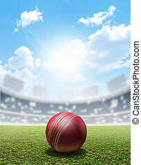 Cricket Stadium And Ball - A cricket stadium with a red...