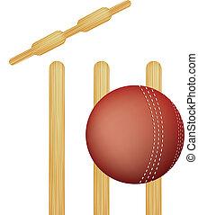 cricket stumps - simple icon style illustration of cricket...