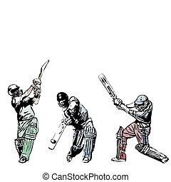 Cricket trio  - illustration of three cricket players