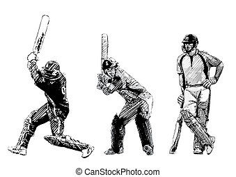 cricket trio - illustration of the cricket players