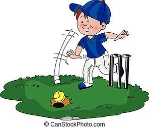 cricket., vettore, gioco, ragazzo