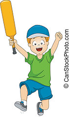 Cricket Victory Jump - Illustration of a Boy Holding a...