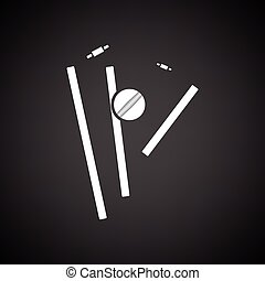 Cricket wicket icon. Black background with white. Vector...